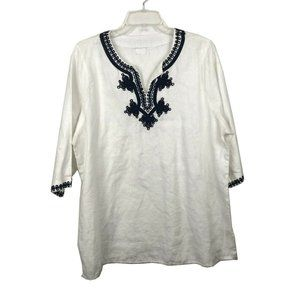 Symple NYC white linen top navy embroidery- XL
